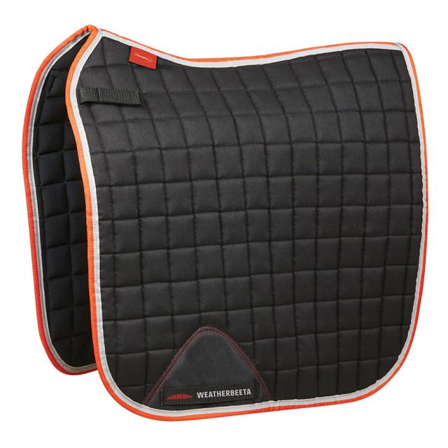WeatherBeeta Therapy-Tec Dressage Saddle Pad Black/Silver/Red