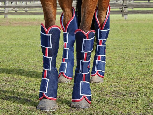 WeatherBeeta Long Wide Tab Travel Boots Navy/Red/White