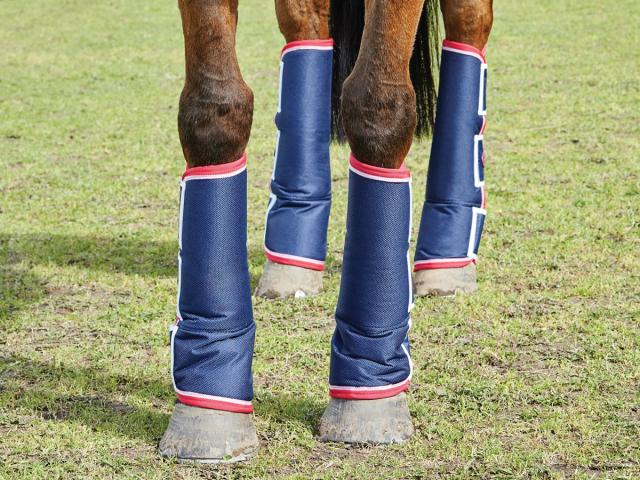 WeatherBeeta Short Wide Tab Travel Boots Navy/Red/White