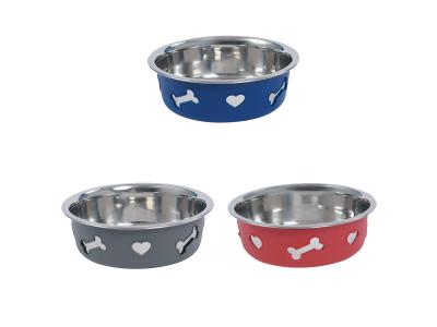 WeatherBeeta Non-Slip Stainless Steel Silicone Bone Dog Bowl Blue, Dark Grey & Raspberry