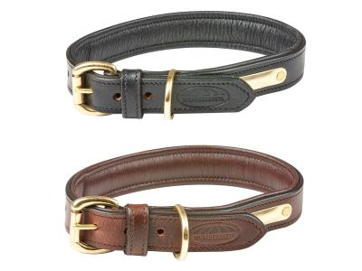 WeatherBeeta Padded Leather Dog Collar Black & Brown