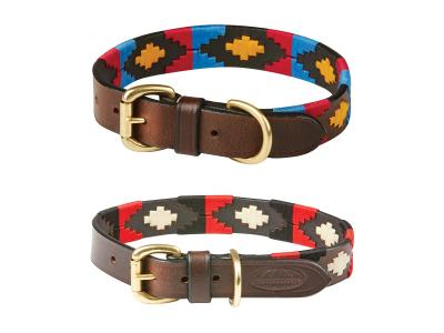 WeatherBeeta Polo Leather Dog Collar Cowdray/Brown/Pink/Blue/Yellow & Cowdray/Brown/Black/Red/White