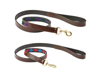 WeatherBeeta Polo Leather Dog Lead Beaufort/Brown/Purple/Teal & Beaufort/Brown/Pink/Blue