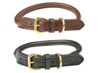 WeatherBeeta Rolled Leather Dog Collar Brown & Black